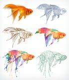 Εικονίδια σχεδίων Goldfish διανυσματική απεικόνιση