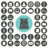 Εικονίδια σχολείου και εκπαίδευσης καθορισμένα Στοκ Εικόνα