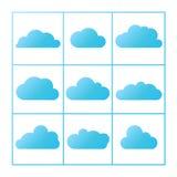 Εικονίδια σύννεφων καθορισμένα Στοκ Εικόνες