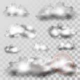 Εικονίδια σύννεφων στο διαφανές υπόβαθρο Στοκ φωτογραφία με δικαίωμα ελεύθερης χρήσης