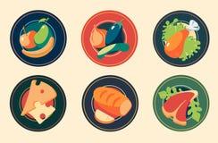 Εικονίδια Σύνολα επίπεδων τροφίμων εικονιδίων σχεδίου διάνυσμα στοκ εικόνες