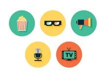 Εικονίδια ταινιών Διανυσματικά πολυμέσα καθορισμένα Στοκ φωτογραφίες με δικαίωμα ελεύθερης χρήσης