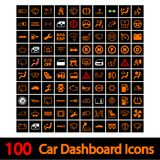 100 εικονίδια ταμπλό αυτοκινήτων. Στοκ φωτογραφία με δικαίωμα ελεύθερης χρήσης