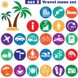 Εικονίδια ταξιδιού καθορισμένα (χρώμα) Στοκ Εικόνες