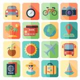 Εικονίδια ταξιδιού και μεταφορών για τον Ιστό κινητό App Στοκ Εικόνες