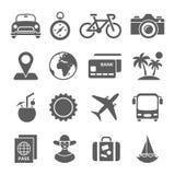 Εικονίδια ταξιδιού και μεταφορών για τον Ιστό κινητό App Στοκ Φωτογραφίες