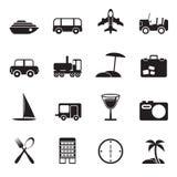 Εικονίδια ταξιδιού, μεταφορών, τουρισμού και διακοπών σκιαγραφιών Στοκ Φωτογραφίες