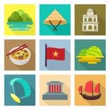 Εικονίδια ταξιδιού του Βιετνάμ ελεύθερη απεικόνιση δικαιώματος
