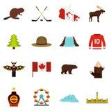 Εικονίδια ταξιδιού του Καναδά που τίθενται στο επίπεδο ύφος διανυσματική απεικόνιση