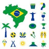 Εικονίδια της Βραζιλίας με το χάρτη και τη σημαία απεικόνιση αποθεμάτων