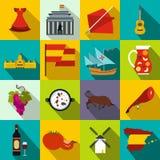 Εικονίδια της Ισπανίας επίπεδα Στοκ εικόνα με δικαίωμα ελεύθερης χρήσης