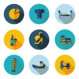Εικονίδια της Ιταλίας με το διανυσματικό σχήμα Στοκ Εικόνες