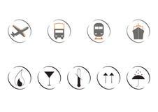 Εικονίδια της μεταφοράς και του φορτίου διανυσματική απεικόνιση