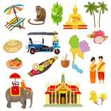 Εικονίδια της Ταϊλάνδης καθορισμένα διανυσματική απεικόνιση
