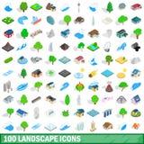 100 εικονίδια τοπίων καθορισμένα, isometric τρισδιάστατο ύφος απεικόνιση αποθεμάτων