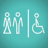 Εικονίδια τουαλετών, διανυσματική απεικόνιση. ελεύθερη απεικόνιση δικαιώματος