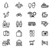 Εικονίδια τουρισμού και ταξιδιού Στοκ φωτογραφία με δικαίωμα ελεύθερης χρήσης