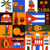 Εικονίδια τουρισμού της Κούβας Αβάνα διανυσματική απεικόνιση