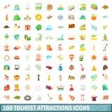 100 εικονίδια τουριστικού αξιοθεάτου καθορισμένα, ύφος κινούμενων σχεδίων Στοκ Εικόνες