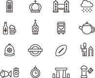 Εικονίδια του Ηνωμένου Βασιλείου και του Λονδίνου Στοκ εικόνα με δικαίωμα ελεύθερης χρήσης
