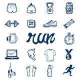Εικονίδια τρεξίματος που τίθενται στο ύφος doodle Στοκ φωτογραφία με δικαίωμα ελεύθερης χρήσης