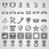 Εικονίδια τροπαίων και βραβείων καθορισμένα Στοκ εικόνα με δικαίωμα ελεύθερης χρήσης