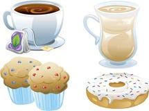 εικονίδια τροφίμων καφέδ&omeg Στοκ Εικόνες