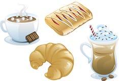 εικονίδια τροφίμων καφέδ&omeg Στοκ Εικόνα
