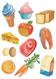 Εικονίδια τροφίμων κινούμενων σχεδίων Στοκ φωτογραφία με δικαίωμα ελεύθερης χρήσης