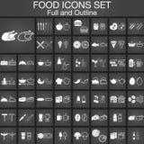 εικονίδια τροφίμων που τί&th Εκδόσεις συνόλου και περιλήψεων Στοκ εικόνα με δικαίωμα ελεύθερης χρήσης
