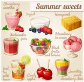 εικονίδια τροφίμων που τί&th Θερινά γλυκά Στοκ Εικόνες
