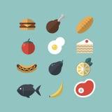 εικονίδια τροφίμων που τί&th Κρέας, λαχανικά, χοτ ντογκ, κέικ, ψωμί, ψάρια Επίπεδος-ύφος στο μπλε υπόβαθρο Στοκ φωτογραφίες με δικαίωμα ελεύθερης χρήσης
