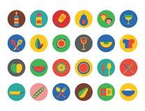 εικονίδια τροφίμων που τί&th Φρούτα, κουζίνα, τρόφιμα και ποτά Στοκ Εικόνες