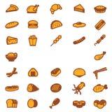 εικονίδια τροφίμων που τί&th Στοκ Εικόνα