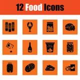 εικονίδια τροφίμων που τί&th Στοκ Φωτογραφίες
