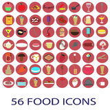 56 εικονίδια τροφίμων χρώματος καθορισμένα Στοκ Εικόνες