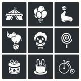 Εικονίδια τσίρκων καθορισμένα Στοκ εικόνες με δικαίωμα ελεύθερης χρήσης