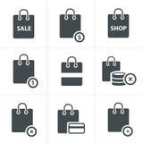 Εικονίδια τσαντών αγορών στο άσπρο υπόβαθρο Στοκ εικόνα με δικαίωμα ελεύθερης χρήσης