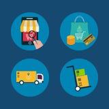 Εικονίδια των αγορών συμβόλων και Διαδικτύου ηλεκτρονικού εμπορίου απεικόνιση αποθεμάτων