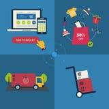 Εικονίδια των αγορών συμβόλων και Διαδικτύου ηλεκτρονικού εμπορίου διανυσματική απεικόνιση