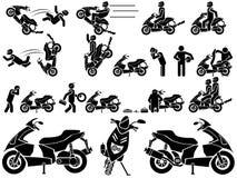 Εικονίδια των ατόμων στη μαύρη μοτοσικλέτα θέματος Στοκ Εικόνες