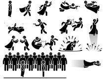 Εικονίδια των ατόμων στη μαύρη πάλη συμμοριών θέματος Στοκ εικόνες με δικαίωμα ελεύθερης χρήσης