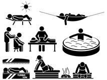 Εικονίδια των ατόμων στη μαύρη χαλάρωση θέματος Στοκ Φωτογραφίες