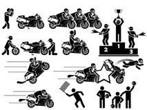 Εικονίδια των ατόμων στις μαύρες μοτοσικλέτες θέματος Στοκ Εικόνα