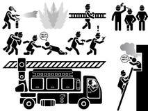 Εικονίδια των ατόμων στους μαύρους πυροσβέστες διάσωσης θέματος αστικούς Στοκ Φωτογραφίες