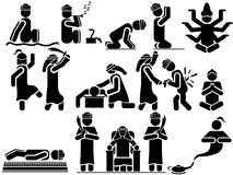 Εικονίδια των ατόμων στο μαύρο θέμα Αραβικά Στοκ Εικόνες