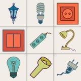 Εικονίδια των διαφορετικών ηλεκτρικών συσκευών Στοκ Εικόνες