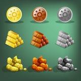 Εικονίδια των πόρων για τα παιχνίδια Χρυσός, ασήμι και χαλκός διανυσματική απεικόνιση