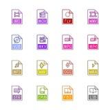Εικονίδια τύπων αρχείου: Βίντεο, ήχος, και βιβλία - χρώμα Linne Στοκ Εικόνα
