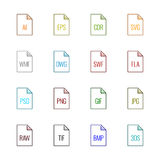 Εικονίδια τύπων αρχείου: Γραφική παράσταση - χρώμα Linne UL Στοκ φωτογραφίες με δικαίωμα ελεύθερης χρήσης